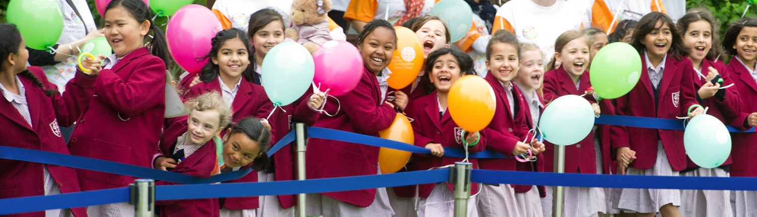 Seaton House schoolgirls with balloons