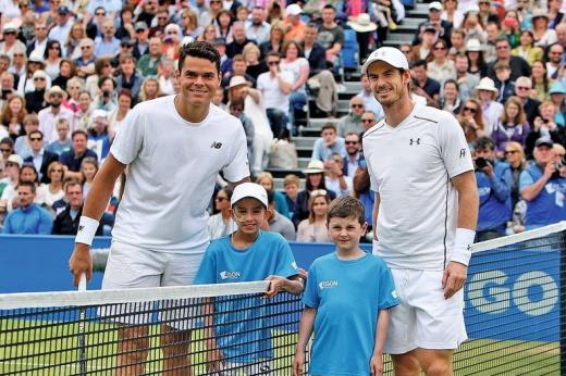Finals day at the Aegon Championships in 2016 - Lewis Houghton and Cameron Austin with tennis stars Andy Murray and Milos Raonic.