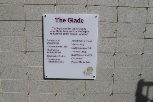 Plaque for the Glade garden