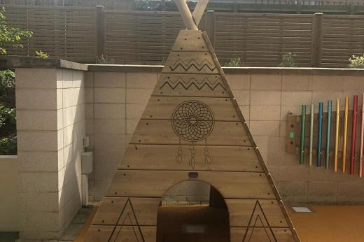 Wooden tepee in the garden