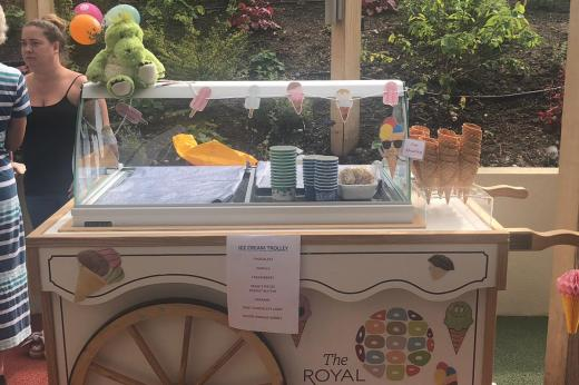 Ice cream trolley in the glade garden