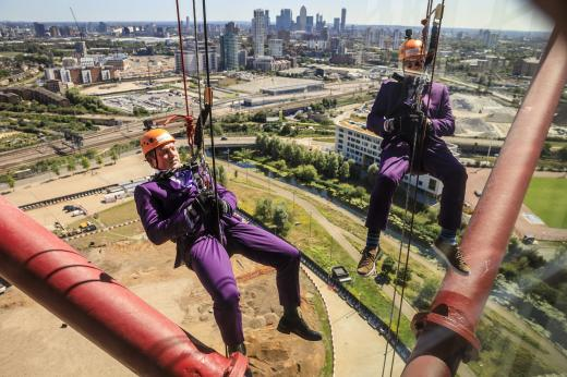 Richard Cormack and Nicholas Hall on the abseil