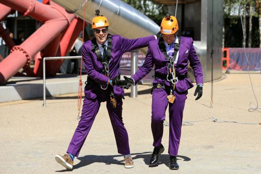 Richard Cormack and Nicholas Hall after their abseil