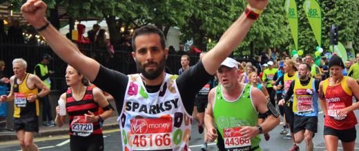 Sparksy - a runner in the London Marathon