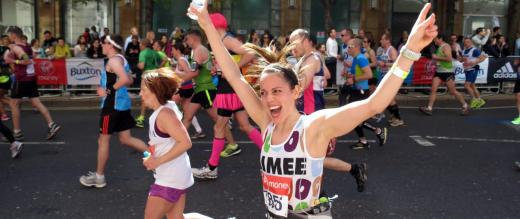 Our supporter Aimee rejoices as she takes part in the Virgin London Marathon