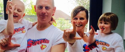 Lewis Houghton and family in their 'SuperLewis' tee shirts
