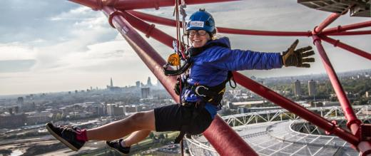 A participant on the Orbit Mittal abseil