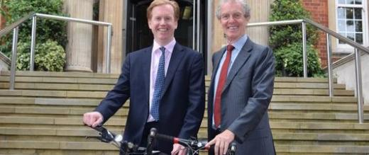 Stuart James and Ian Smith with their commuter bikes outside the steps of The Royal Marsden Hospital, Chelsea