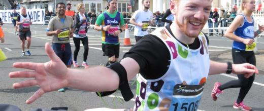 Brighton Marathon supporter high fives
