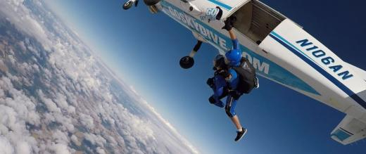 Amy Cook jumping from plane