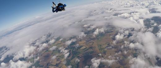 Amy Cook on her tandem parachute jump