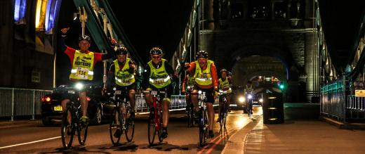 Group of cyclist taking part in nightrider