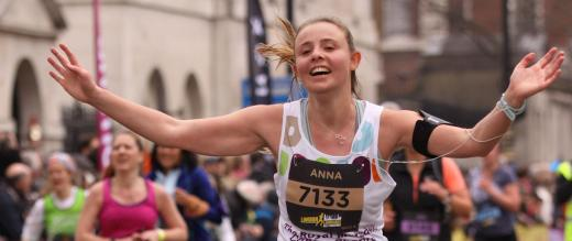 Anna running the London Landmarks half marathon