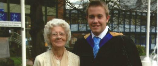 Mrs Jean Suter with grandson Andrew