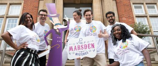 The Marsden Mysteries team on the hospital steps