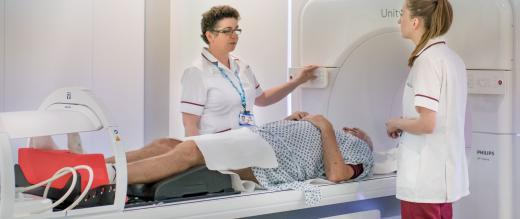 Patient getting scanned by the MR Linac
