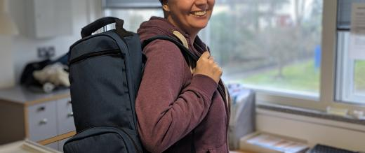 Philippa with chemo backpack