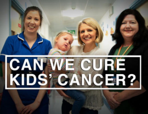Image of Kirsty Colwell, Paediatric Research Sister, young patient Charlotte and her mum Esther, Dr Lynley Marshall, Head of the Oak Paediatric and Adolescent Oncology Drug Development Unit at The Royal Marsden.